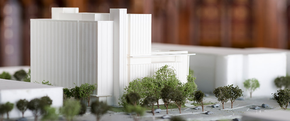 Architectural model of the future Health Professions building